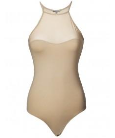 Women's Solid Sleeveless Halter Neck Mesh Insert Jersey Bodysuit