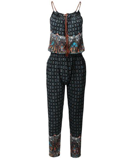 Women's Tasseled Drawstring Neck Sleeveless Border Print Long Jumpsuit