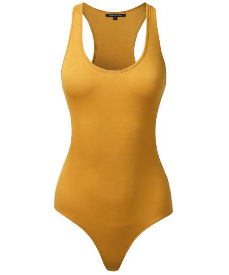 Women's Classic Solid Sleeveless Scoop Neck Bodysuit