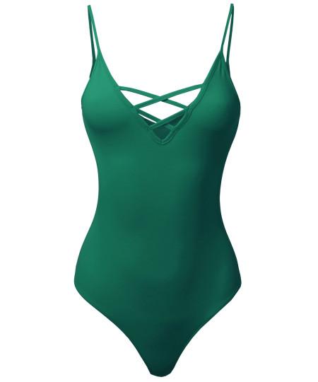 Women's Sexy Solid Caged V-Neck Sleeveless Bodysuit