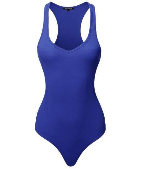 Women's Classic Solid Sleeveless V-Neck Bodysuit