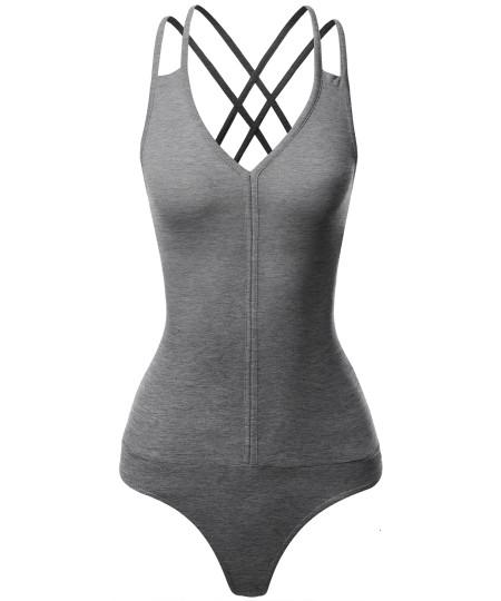 Women's Sleeveless V-Neck Double Strap and Back Cross Detail Bodysuit