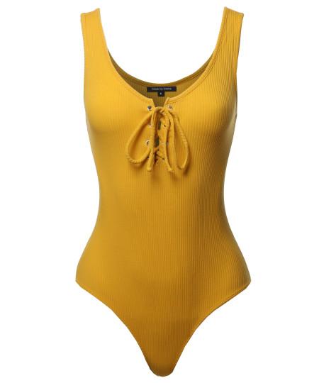 Women's Basic Solid Sleeveless Scoop Neck Drawstring Bodysuit