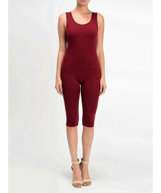 Women's Solid Tank Top Cotton Catsuit Bermuda Bodysuit