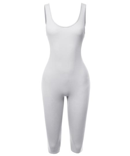 Women's Solid Tank Top Cotton Catsuit Bermuda Bodysuit