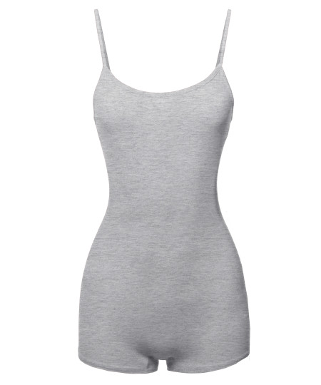 Women's Solid Cotton Cami Tank Top Short Bodysuit