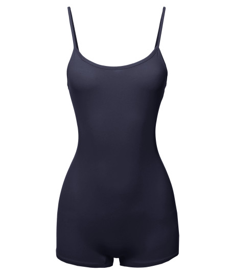 Women's Solid Cotton Cami Tank Top Short Bodysuit