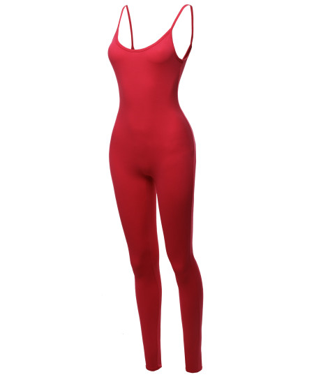 Women's Solid Stretch Cotton Sleeveless One Piece Jumpsuit Bodysuit