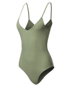 Women's Solid Sleeveless V Neck Adjustable Strap Bodysuit