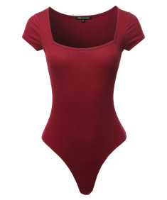 Women's Solid Square Neck-line Bodysuit