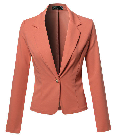 Women's Classic Formal Casual Stylish Long  Sleeve Gold Button Blazer