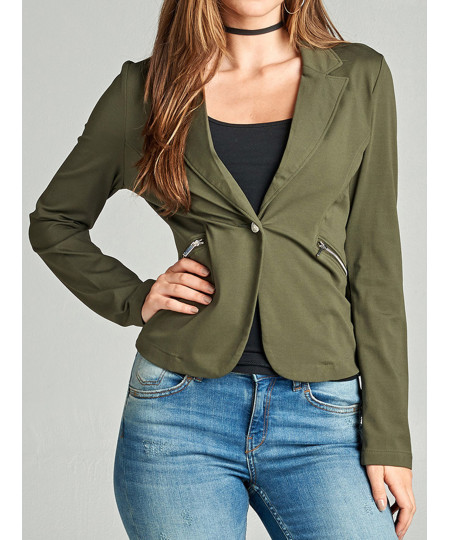 Women's Casual Solid Single Button Long Sleeve Side Zipper Pockets Ponte Blazer