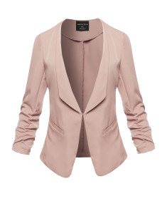 Women's Casual Classic Solid 3/4 Shirring Side Pockets Sleeve Open Front Woven Jacket
