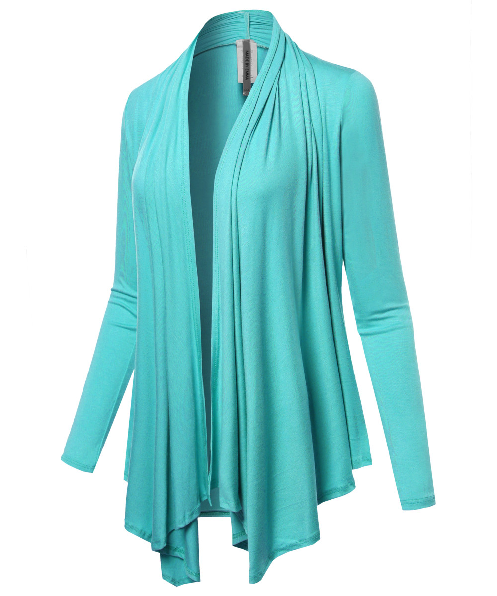 FashionOutfit Women/'s Drapey Open Front Long Sleeve Cardigan