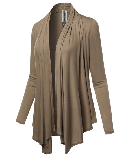 Women's Solid Jersey Knit Draped Open Front Long Sleeves Cardigan