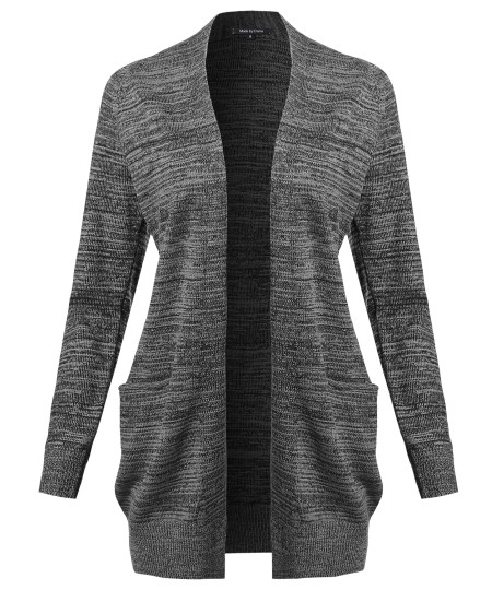 Women's Casual Solid Open Front Raglan Long Sleeve Cardigan with Pockets