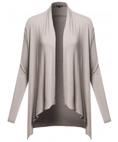 Women's Basic Solid Long Sleeve Open Front Drape Cardigan