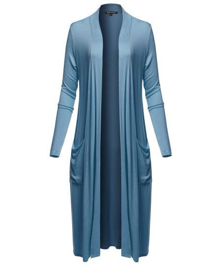 Women's Long Sleeve Side Pockets Midi Length Open Front Cardigan