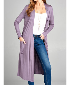 Women's Long Sleeve Side Pockets Midi Length Open Front Cardigan