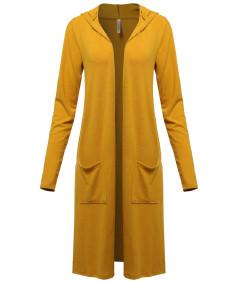 Women's Casual Long Sleeve Deep Side Slit Side Pocket Hoodie Cardigan