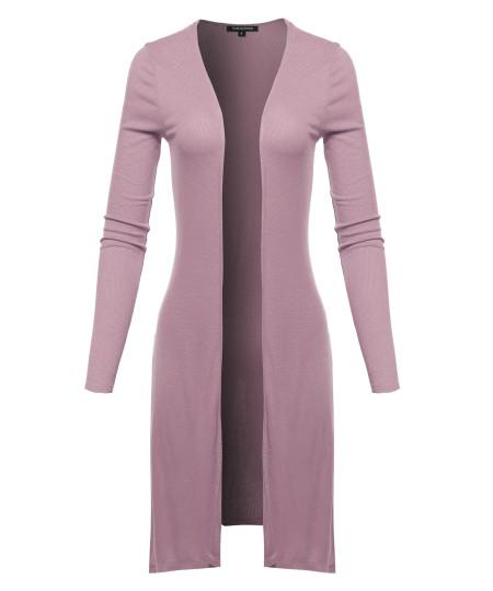 Women's Solid Long Sleeve Open Front Side Slit Length Soft Cardigan