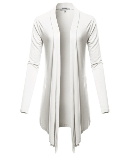 Women's Drapey Open Front Long Sleeve Cardigan
