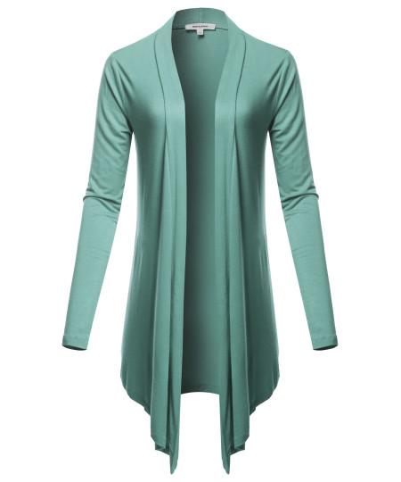 Women's Drapey Open Front Long Sleeve Cardigan