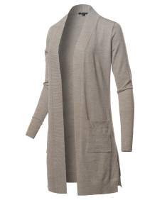 Women's Solid Stretch Long-line Long Sleeve Open Front Knit Cardigan