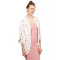 Women's Lightweight Floral Open Front Elbow Sleeve Kimono Cardigan
