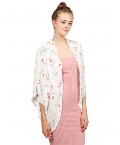 Women's Lightweight Floral Open Front Elbow Sleeve Kimono Cardigan