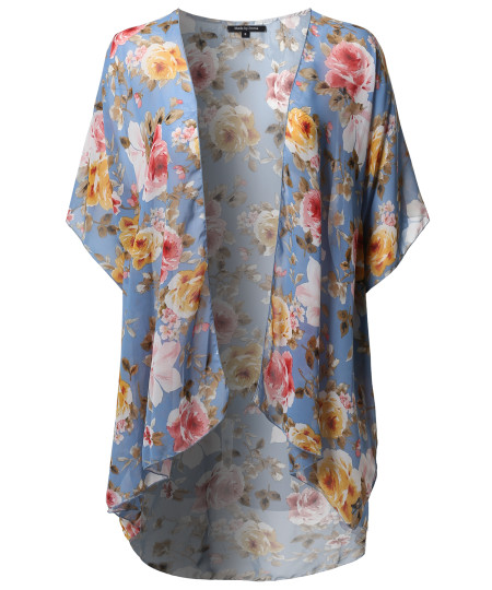 Women's Loose Floral Super Light Kimono Cardigan Blouse Top MADE in USA