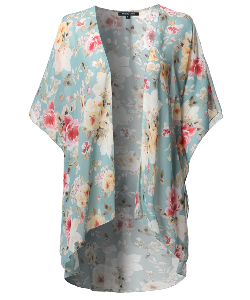 Women's Loose Floral Super Light Kimono Cardigan Blouse Top MADE ...