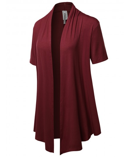 Women's Solid Jersey Knit Draped Open Front Short Sleeves Cardigan