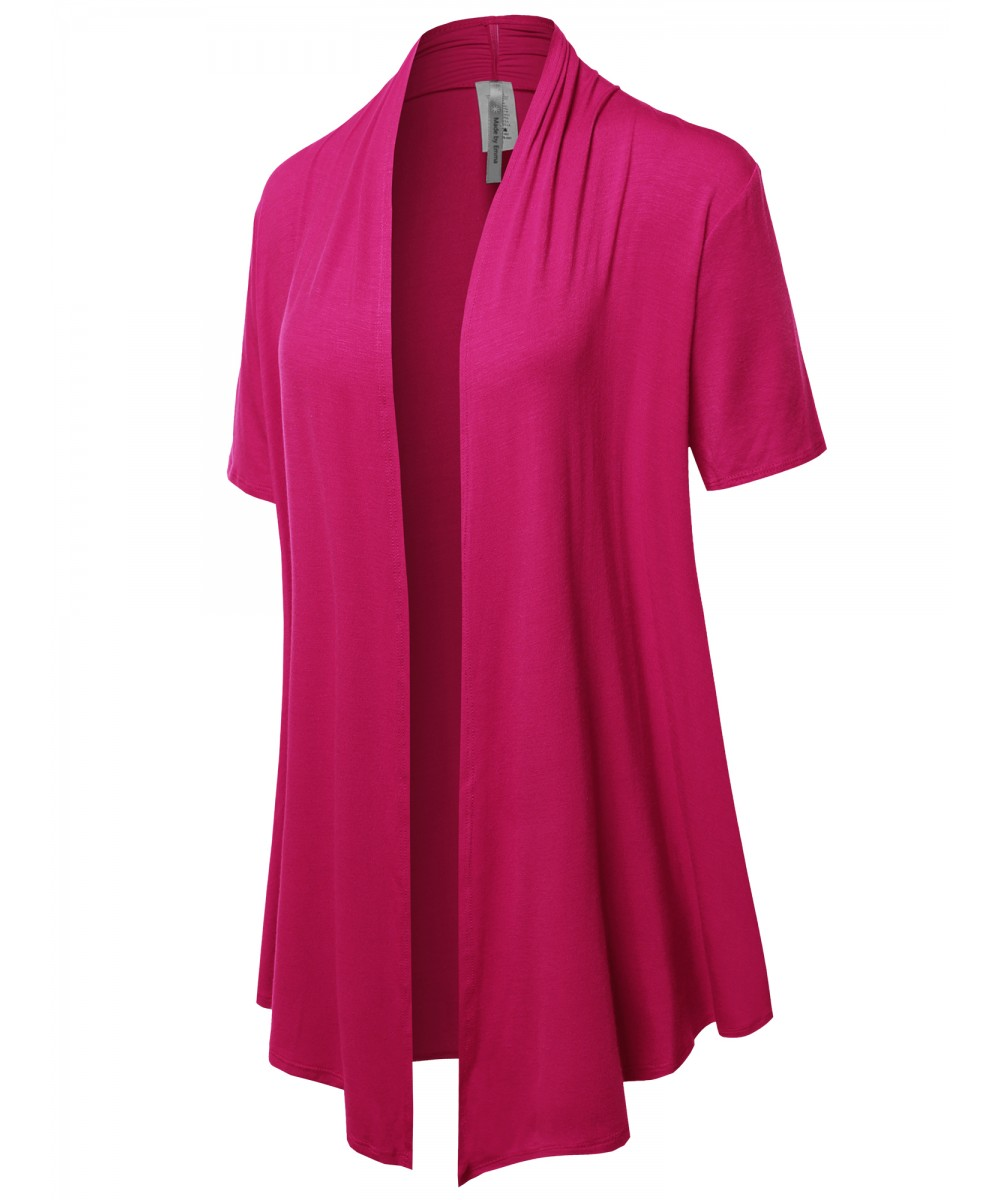 Women's Solid Jersey Knit Draped Open Front Short Sleeves Cardigan ...