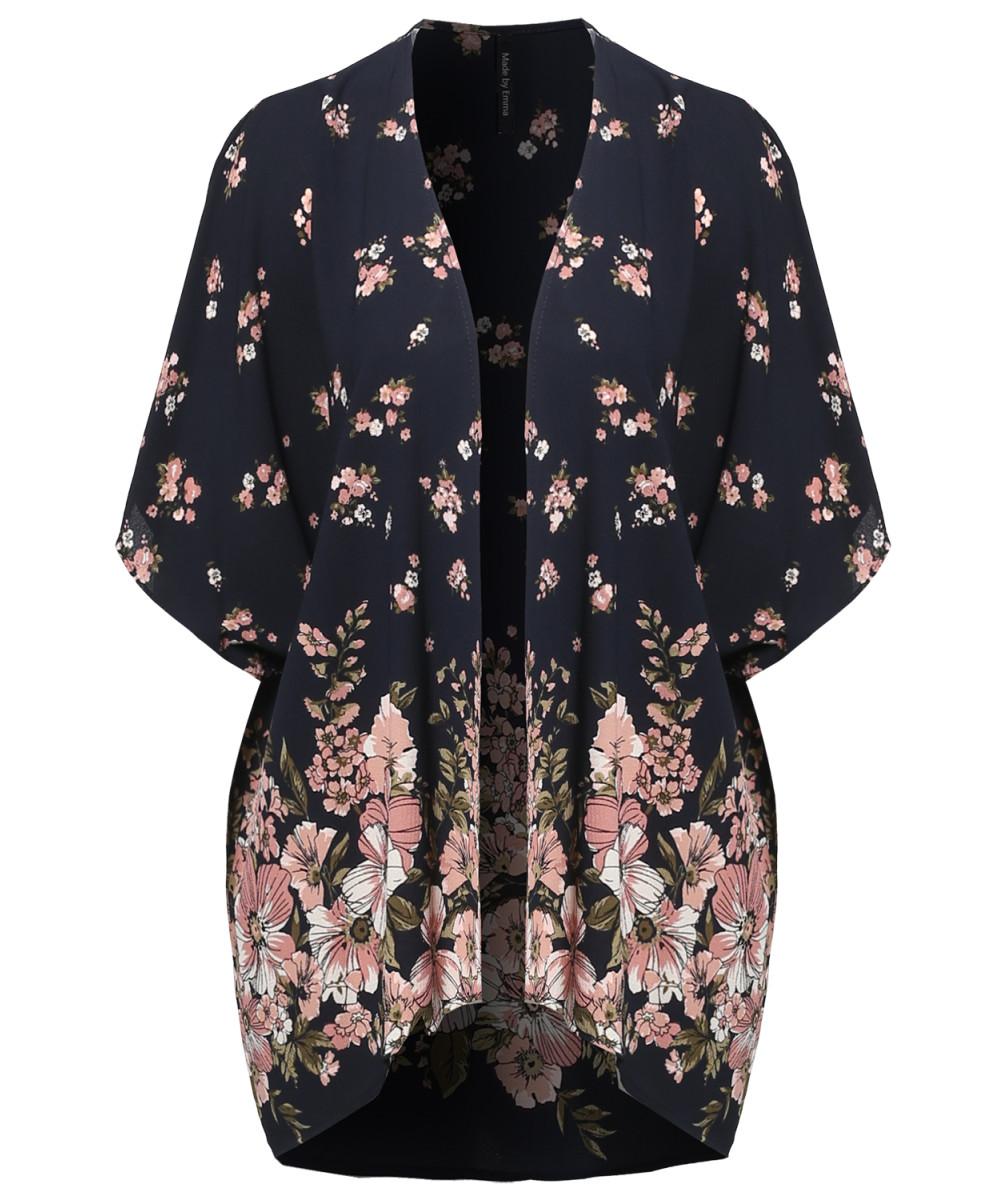 Women's Floral Short Sleeve Open-Front Kimono Style Cardigan ...