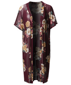 Women's Floral Sheer Mesh Short Sleeve Open-Front Kimono Style Cardigan