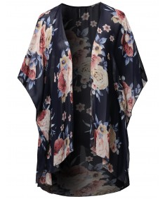 Women's Floral Short Sleeve Open-Front Kimono Style Cardigan Made in USA