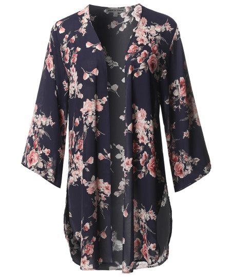 Women's Floral 3/4 Sleeves Open Style Kimono Cardigan - Made In USA
