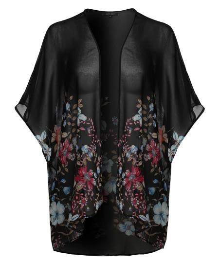 Women's Floral Short Sleeve Open-Front Kimono Style Cardigan