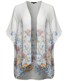 Women's Floral Short Sleeve Open-Front Kimono Style Cardigan