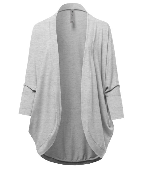 Women's Premium 3/4 Sleeve Loose Cocoon Open Front Pocket Cardigan