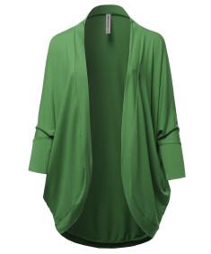 Women's Premium 3/4 Sleeve Loose Cocoon Open Front Pocket Cardigan