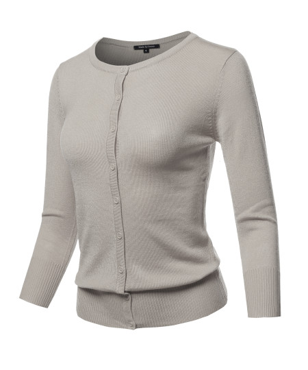 Women's Solid Crew Neck Button Down 3/4 Sleeves Knit Cardigan
