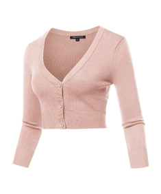 Women's Solid V-Neck Bolero Cropped Cardigan
