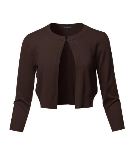 Women's Solid Soft Stretchable 3/4 Sleeve Bolero Short Cardigan
