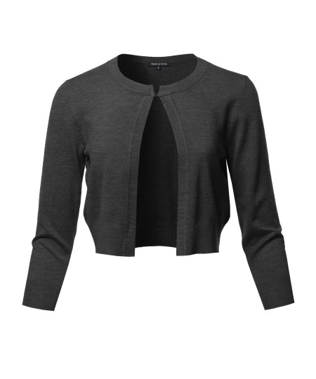 Women's Solid Soft Stretchable 3/4 Sleeve Bolero Short Cardigan