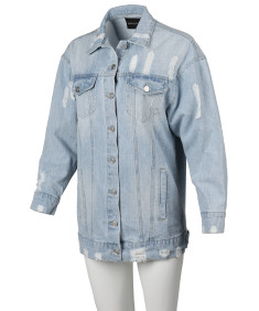 Women's Oversized Distressed Long Sleeve Denim Jacket