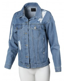 Women's Oversized Destroyed Long Sleeve Denim Jacket