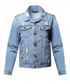 Women's Oversized Destroyed Studded Long Sleeve Denim Jacket
