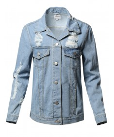 Women's Trendy Destroyed Long Sleeve Denim Jacket